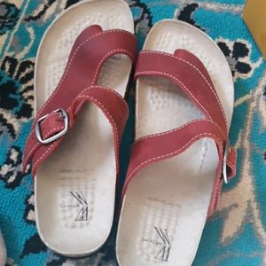 Red White mountain sandals